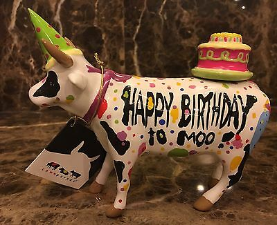"NWT~COW PARADE ~""HAPPY BIRTHDAY TO MOO"" Confetti COW w/Hat & BD Cake Figurine"