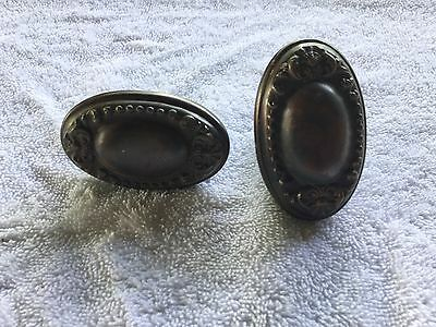 "Antique Vintage Pair Of Brass Oval Door Knobs 2 3/4"" Tall  Great Patina"