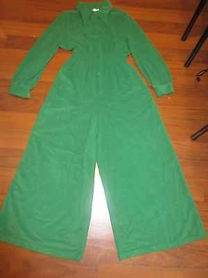 Vintage Jumpsuit Green Velour Bell Bottom Romper JcPenny  Loungewear BoHo Gumby