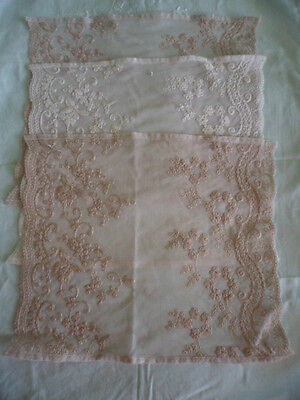 3 PIECES VINTAGE OLD FRENCH LACE TRIM SUIT DOLL or BEAR or SEWING CRAFT RECRAFT