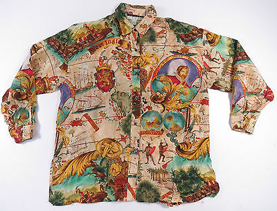 Vtg 80S 90S Baroque Nautical Royalty All Over Print Silk Shirt Hip Hop Swag Euc