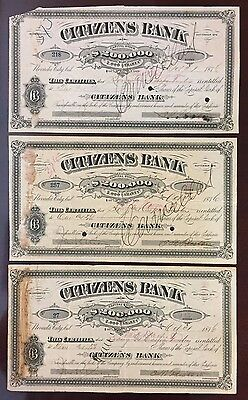 THREE 1876 Citizens Bank Stock Certificates - CALIFORNIA GOLD RUSH BANK STOCK!!!