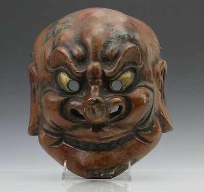 Japanese Painted Paper Mache Figural Demon Demonic Noh Theater Wall Mount Mask