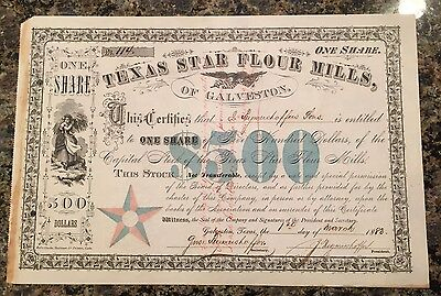 1883 Texas Star Flour Mills of Galveston - Clean and Bright - $500 A Share Big $