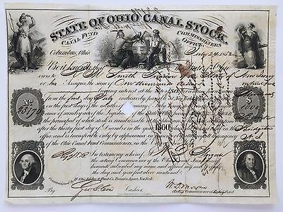 1852 State Of Ohio Canal Stock Certificate - 165 YRS. OLD - ERIE CANAL HISTORY!