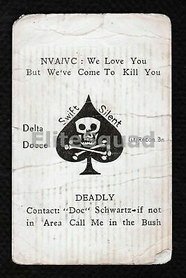 Vietnam War Photo Marines 'kill card' 1st Recon Bn 1970 #536