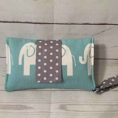 Nappy Clutch/ diaper wallet in Mint/green and grey elephants