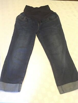 Old Navy Maternity Size 6 Cuffed Capri Jeans Pants Full Panel Excellent Shape!