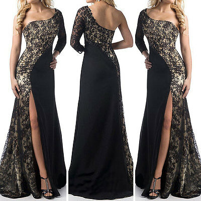 Long Split Lace Evening Formal Party Ball Gown Prom Bridesmaid Dress Size 8-18