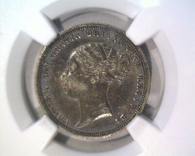 1883 Great Britain Silver 6 Pence Coin NGC AU55