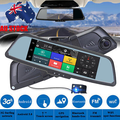 "Android 5.0 Dual Lens 7"" 3G 1080P WIFI Car DVR Rearview Mirror Camera Recorder"