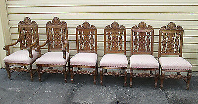 57829  T4:   Set 6 Antique Solid Oak Dining Chairs Chair s