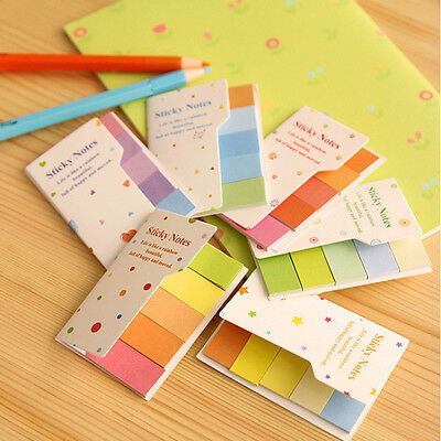 Cute Rainbow Colored Self-Adhesive Memo Pad Sticky Note Page Marker Tab Flag CN