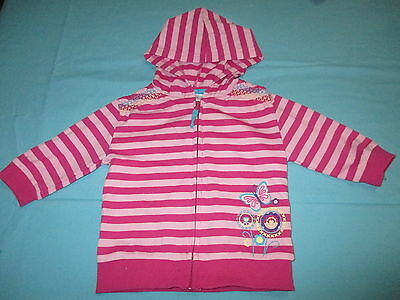 Dymples Girls Size 0 Jacket Hoodie Pink Stripes Butterfly Flowers