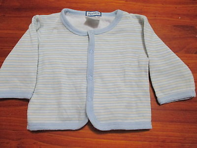Moochacha Boys Size 000 Jacket, striped pale pastel light jumper coat