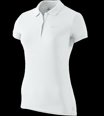 NIKE Women's White Dri-Fit Baseline Tennis Polo Shirt Size S . BNWT $55.00.