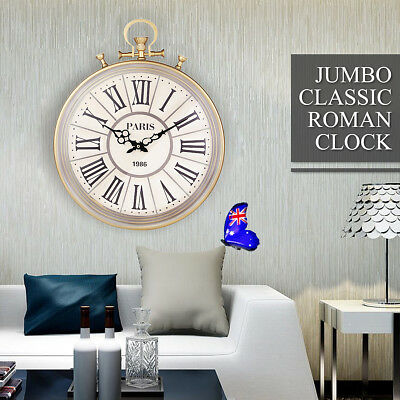 Large Antiquite Pocket Watch Style Roman Numerals Wall Clock Home ART Decoration