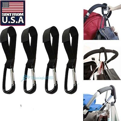 4 x Universal Mummy Buggy Clip Pram Pushchair Stroller Hook Shopping Bag USA