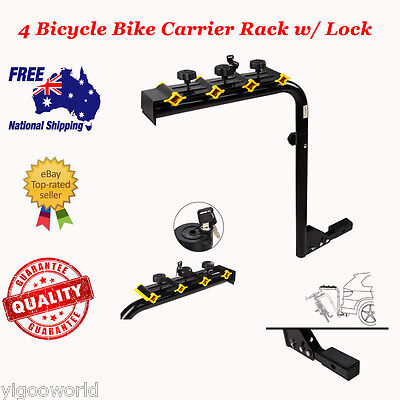 """4 Bike Bicycle Rack Rear Hitch Mount Car Carrier W/ Lock For 2"""" Receivers Steel"""