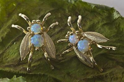 A NEW PAIR OF LARGE SOLID 9ct YELLOW GOLD FIERY OPAL BUG EARRINGS