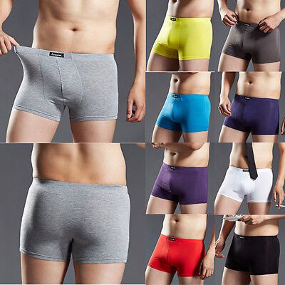 Men's Bulge Cotton Boxer Briefs Shorts Underwear Breathable Trunks Underpants