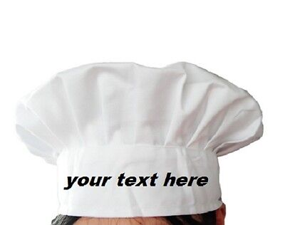 Personalised Embroidered Chef Hat Kitchen Cook Tall Baker Cap