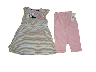 New Calvin Klein 2Pc Outfit Set 3 Years  Beige Striped Babydoll Top Leggings Set