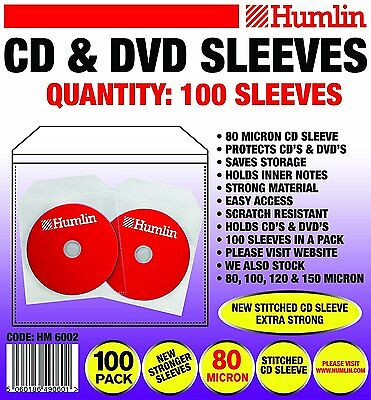 100 CD DVD DISC CLEAR COVER CASES PLASTIC 80 MICRON SLEEVE WALLET - 1 x 100 pack