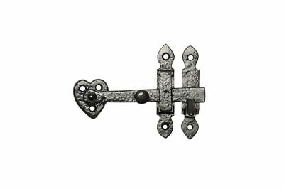 Antique Black Malleable Iron Cupboard Thumb Latch Set With Heart Backplate