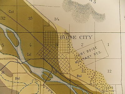 Antique 1901 Map Idaho Boise City Meridian  Approx 15 X 22