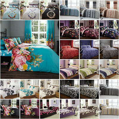 New Duvet Quilt Cover With Pillowcase Poly Cotton Bedding Set Single,Double,King
