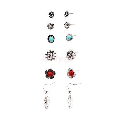 6 Pairs/Lot Charm Fashion Jewelry Antique Silver Flower Mix Stud Earring Lot