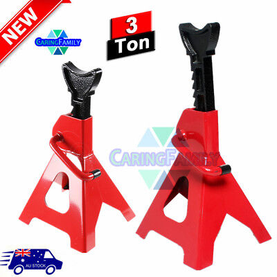 AU 2X Car Jack Stand 3T 3000kg Ratchet Adjustable Lift Hoist Heavy Duty Steel