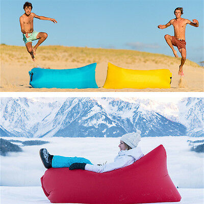 Lazy Inflatable Couch Air Sleeping Sofa Lounger Camping Portable Bed Fast Beach