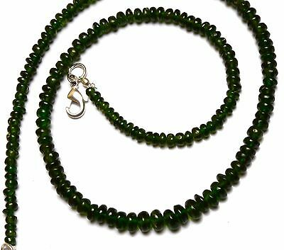 """Super Top Quality Chrome Diopside Gem Smooth 4-6Mm Rondelle Beads Necklace 17"""""""