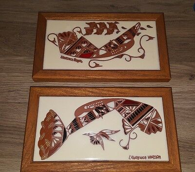 Lawrence Vargas Lot of 2  Framed Handpainted Tile Tecolote of New Mexico