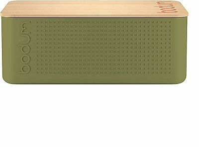 Bodum Plastic and Bamboo Chopping Bread Storage Box, 37 x 24cm, Olive
