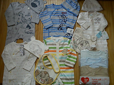 AMAZING 42x NEW BUNDLE OUTFITS SUMMER WINTER TIGER BABY BOY 0/3/6 MTHS(3.3NRD42
