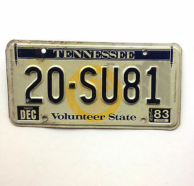 Tennessee 1983 Vintage License Plate Garage Volunteer State Map Old Car Auto Tag