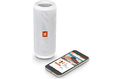 JBL Flip 4 WaterProof Portable Bluetooth Speaker (White). NEW!! 12hrs Play-time