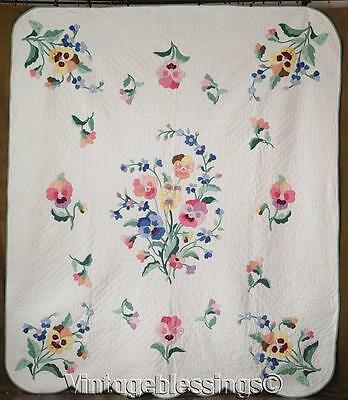 So Pretty! VINTAGE Pansy Cottage Garden Appliqued Floral QUILT 88x76""