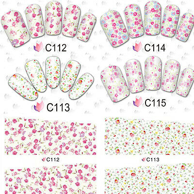 Nail Art Water Decals Transfers Stickers Wraps Pastel Summer Flowers Floral