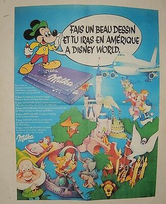 Ancien poster concours DISNEY WORLD et MILKA Suchard avec MICKEY