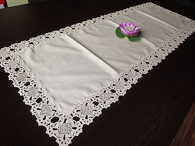 Handmade Ivory Linen Cotton Tablecloth With Amazing Crochet Lace