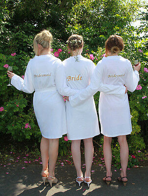 White Jersey Wedding Dressing Gown Bride, Bridesmaids, Personalised Embroidered