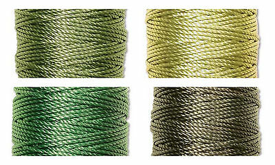 S-Lon Superlon Bead Cord Tex 400  Heavy  .9mm  Green  Mix - 4 spools