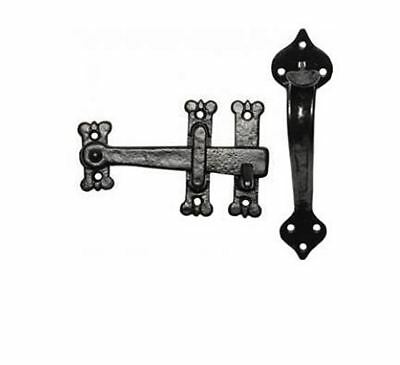 Medieval Style Antique Black Malleable Iron Thumb Latch Set With Spade Backplate