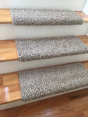 Latte TRUE Bullnose™ Stair Tread Carpet w/Padding Step Cover Beige Brown Tan