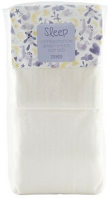 Tesco 2 Fitted Cotton Jersey Sheets for Baby Cot Bed - Cream