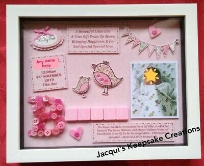 Personalised New Baby Girl Frame Picture Gift Keepsake Free Photo Scrabble Tiles